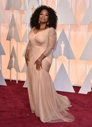 2015 Inspired By Oprah Winfrey Oscar Celebrity Red Carpet Runway Dresses Nude Plus size pleats tulle maxi pageant dress for women formal