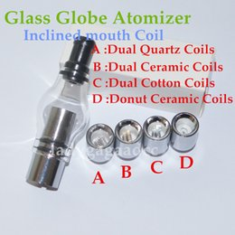 Wholesale Hot Sale Glass Globe Atomizer Glass Tank Wax Vaporizer Dual Quartz Ceramic Rod Cotton Donut Coils for thread battery ecigs