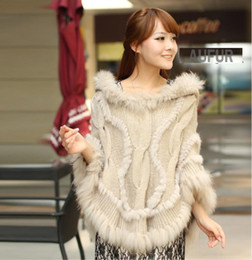 Wholesale-Autumn Winter Woolen Poncho Women's Casual Knitted Fur Shawl Real Rabbit Fur Trim Hood Solid Colour Hooded Pullover AU00299