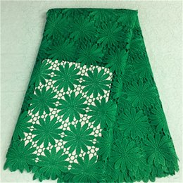 Charming green flower african water soluble lace embroidery french guipure lace fabric for party dress BW75-2,5yards pc