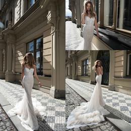 2017 Berta Wedding Dress Romantic Spaghetti Strap Backless Sexy See Through Corset Lace Beaded Cascading Ruffles Train Mermaid Gowns