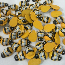 Wholesale 1000pcs Yellow Honey Bee Wooden Flatbacks Chips Easter Wood Crafts Embellishents Cartoon Toys Scrapbooking x12mm