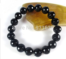 Wholesale Pretty mm Black Faceted Agate Onxy Round beads Elastic bracelet link stretch Fashion bracelet bangle