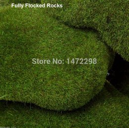 Wholesale ROUND MOSS ROCKS Environmental protection Green Lawn Ornaments Figurine Stone Moss Plant in Villa and House Big size pack of