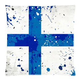 Wholesale Custom Fashionable Grunge Finland Flag with Stains Picture Zippered Throw Pillow Cover Cushion Case x18 two side