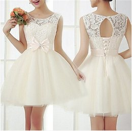 Wholesale 2015 Lace Beach Wedding Dresses Scoop Neck Bow Decorated Belt Lace up Short Tulle Bridal Gowns KC LQ9345