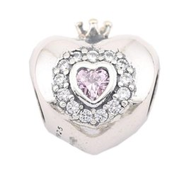 Sterling Silver Charms 925 Ale Heart Rhinestone Crown European Charms for Pandora Bracelets DIY Beads Free Shipping
