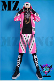 Male singer fashionable nightclub in Europe and the runway looks phosphor white letters have cap costumes. S - 6 xl