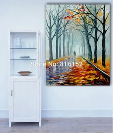 Fashion Palette Knife Fall Scenery in The Park Oil Painting Printed on Canvas Mural Art for Home Decoration