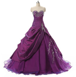 Noble Debutante Sweet 16 Girls Prom Ball Gowns With Sweetheart Embroidery Ruffles Beaded Taffeta Teens Quinceanera Dresses Cheap In Stock