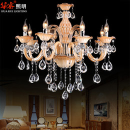 Wholesale classical European style luxury E14 head with lampshade k9 crystal chandelier lamp dining room light candle lamp vintage light fittings