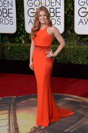Wholesale 2016 Golden Globe Celebrity Dresses Amy Adams In Mermaid Prom Gowns Jewel Neckline Sweep Train Beading Evening Dress