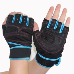 Wholesale-New 1 Pair Sports Fashion Gym Fitness Bike Bicycle Shockproof Sports Half Finger Gloves Blue Red Black