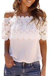 Wholesale Strapless Loose Tops - White Lace Chiffon Blouse Off Shoulder Crochet Blouse Shirt Ruffle Short Sleeve Beach Boho Loose Women Strapless Tops Blusas Femininas 25684