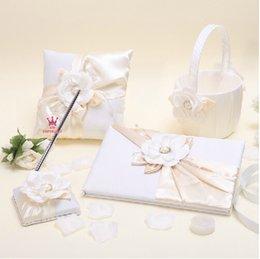 Wholesale 2015 new set wedding favors unique pearl diamond white flowers devise Guestbook Pen Set Ring Pillow Flower Basket