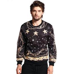 w1213 Raisevern vintage style 3D sweatshirt pullovers retro pattern gold chains stars print 3D hoodies harajuku sweatshirts tops