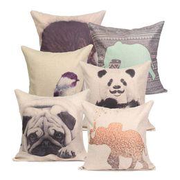 Wholesale-44*44cm Cute Animal Series Panda Printed Throw Pillow Case Super Soft Home Bed Pillowcase Cushion Square Cover