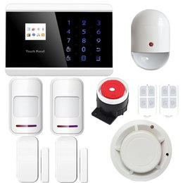 Wholesale ANDROID IOS APP Wireless Wired GSM Alarm System Telephone Touch keypad TFT color Display Security System Smoke Detector