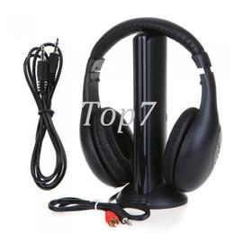 Black 5 in 1 Wireless Cordless Headphone Headset Earphone for PC TV Radio Wireless Headphone Gaming Headphone Eletronic Hot