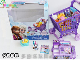 Wholesale Retail Frozen cash Register shopping cart Toy suit kids Elsa Anna Pretend Play Furniture Toys children Educational Interactive toys retail