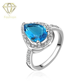 Platinum Rings Christmas Gift Fashion Platinum Plated Heart Drop Shaped with Blue Big Crystal Finger Ring Jewelry for Women Party