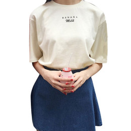 New 2016 Summer Ladies Tops Kawaii T shirts Milk letters printed Women Shirts Short sleeve Casual Tees girlfriends Pink beige
