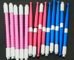 30Pcs Hot Sell Tattoo Factory Wholesale Professional Manual Tattoo Permanent Makeup eyebrow Pen Blue Red Pink Mixed Color