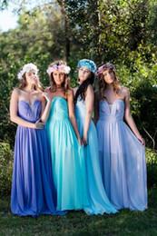 Charming Long Chiffon Bridesmaids Dresses A Line Sweetheart Pleats Mint Lilac Light Sky Blue Dress For Weddings Formal Dress Bridesmaid Gown