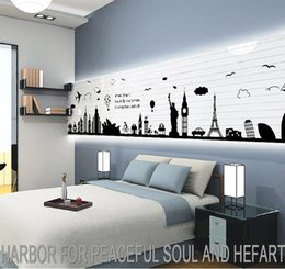 Wholesale World Map Wall Sticker Black Vinyl London Paris World Famous Travel Place Wall Decals Large Sticker Home Decoration