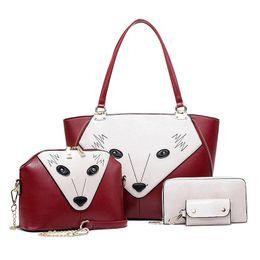 Wholesale Toposhine Fox Face Women Composite Bags Panelled Fashion Women Bags set Girls Shoulder Bag for Woman PU Leather Handbag