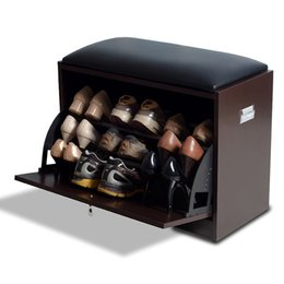 Wholesale Wood Shoe Cabinet Shoe Rack with Seat Living Room Storage Chest Wood Ottoman Brown Color Stock in US