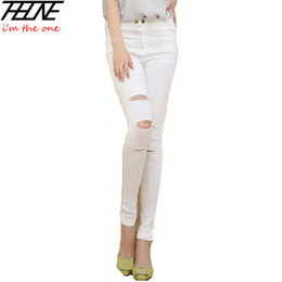 Wholesale-2015 Autumn High Waist Jeans Women Destroyed Denim Pants Stretch Fashion Casual Pencil Pants Trousers White Jeans Skinny Ripped
