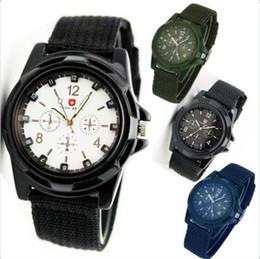 Descuento reloj del ejército suizo deporte militar Lujo waches Mens Deportes militares suizos Gemius Ejército reloj MODA Relojes Para analógico de cuarzo para hombre de moda reloj de pulsera Lienzo relojes 100pcs