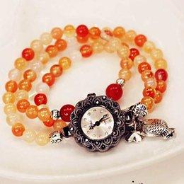 amulettes Thai B42 rose cristal grenat tourmaline mode agate naturelle quartz femme coréenne montres multi-bracelet à partir de montre grenat fabricateur