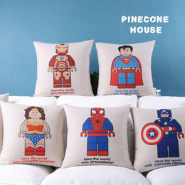 Wholesale Set Covers For Sofa Cushions - Stylish super Hero Cotton Linen 18''Cushion Covers Throw Pillow cover set For Sofa 6pcs lot