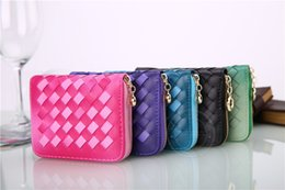 Wholesale women coin purse short style one fold PU woven hand knitting gradient ramp top quality PU wallet empty logo