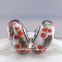 5pcs 925 Sterling Silver Christmas Holly Murano Glass Beads Fit For Pandora European Charm Braceletse & Necklaces