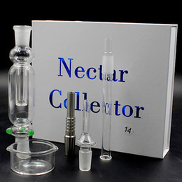 Wholesale Nectar Collector Glass Nectar Collectar Tips with Titanium and Quartz Nail Dabber Dish mm mm Glass Pipe Nectar Collector DHL Free TZ608