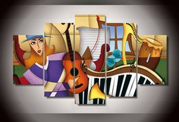 5 Piece Framed Printed music instruments color Group Painting children's room decor print poster picture canvas silver wall art