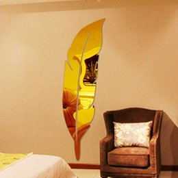 Wholesale New arrival Acrylic mirror decoration Console mirror Feather dressing mirror d three dimensional wall stickers