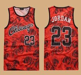 Wholesale 2015 New Fashion sleeveless men s D print rose floral Chicago tank top vest Jordan basketball vest CASUAL jersey shirt plus size