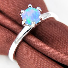 Simple Design 5 Pcs Lot Mother Gift Round Blue Fire Opal Gemstone 925 Sterling Silver Ring Woman Weddings Rings Jewelry Size 7-9