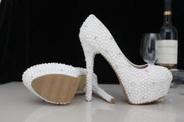Compra Online Boda de la sandalia del tacón alto cm-2017 nuevos llegan los cristales lujosos de las perlas que casan los zapatos 10 - los zapatos nupciales del alto talón de 11 cm calzan el tamaño por encargo de los EEUU de los zapatos de las mujeres del baile de fin de curso del tamaño 4-11
