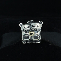 925 Sterling Silver & 14K Real Gold Bear Hug Charm Bead Fits European Pandora Jewelry Bracelets & Necklaces