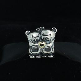 Wholesale 925 Sterling Silver K Real Gold Bear Hug Charm Bead Fits European Pandora Jewelry Bracelets Necklaces