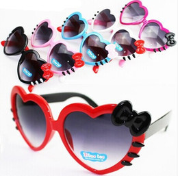 Lovely bowknot heart-shaped Kids Sunglasses Summer Baby Glasses Boys Girls Children Cartoon Sunglasses Shades Sun shade Folding Glasses V103