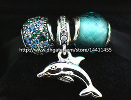S925 Sterling Silver Charms and Murano Glass Bead Set with Charm Box Fits European Pandora Jewelry Charm Bracelets-Ocean Swim Set