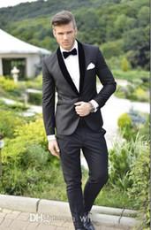 Wholesale Custom Made Groom Tuxedos Charcoal Grey Best man Shawl Black Collar Groomsman Men Wedding Suits Bridegroom Jacket Pants Tie Girdle CC24