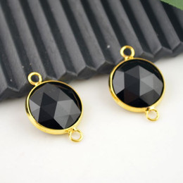 Druzy - 16mm Gold Plated , Faceted Black Quartz Glass Crystal Connector Beads Jewelry Making 10Pcs