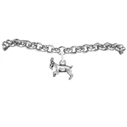 Charmes de chèvre à vendre-Courir Charm chèvre animal Rolo Bracelets de chaîne 100pcs Beaucoup Chain Link Antique Argent Plaqué Dernières Conception